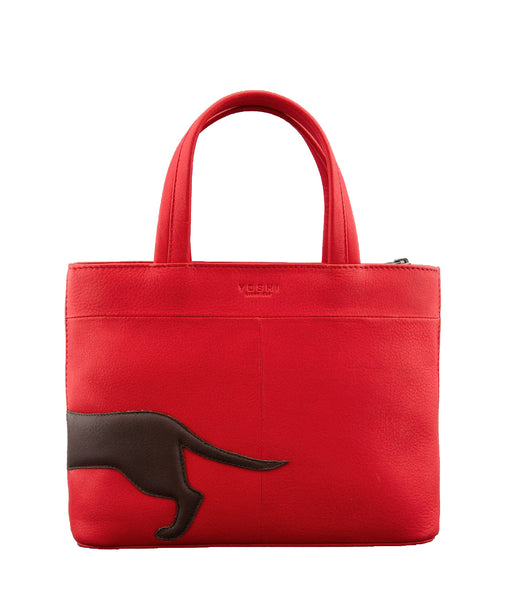 Yoshi Dottie The Dachshund Red Leather Grab Bag