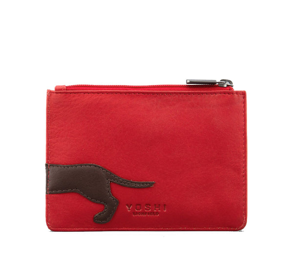 Yoshi Dottie The Dachshund Red Leather Zip Top Purse