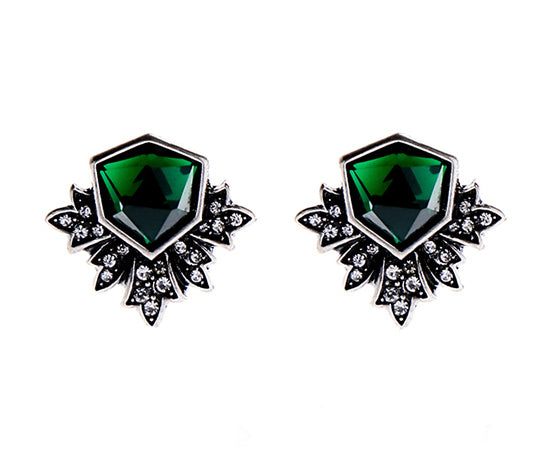 Last True Angel Emerald Green Art Deco Stud earrings