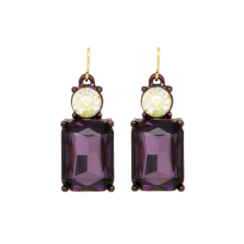 Last True Angel Purple and White Gem Earrings