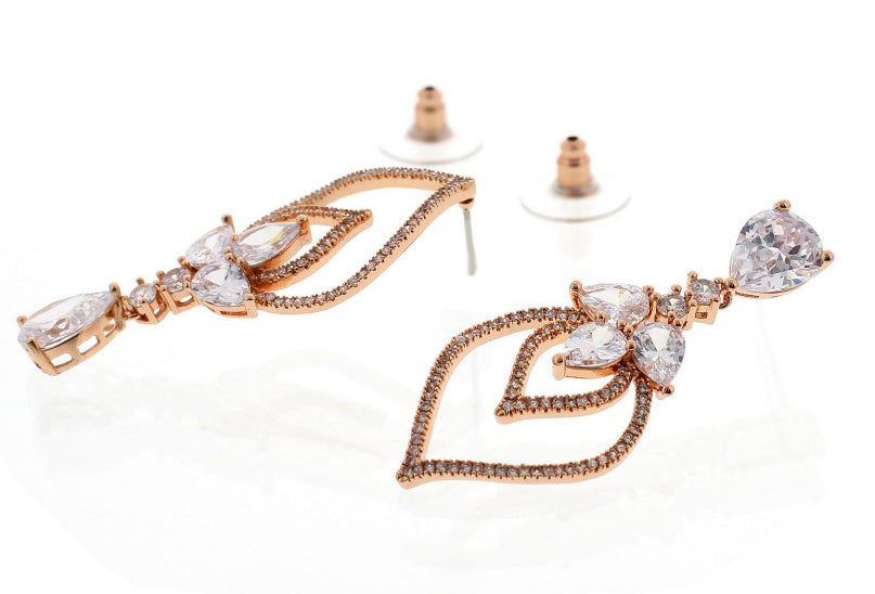 Nour London Rose Gold Asymmetric Earrings
