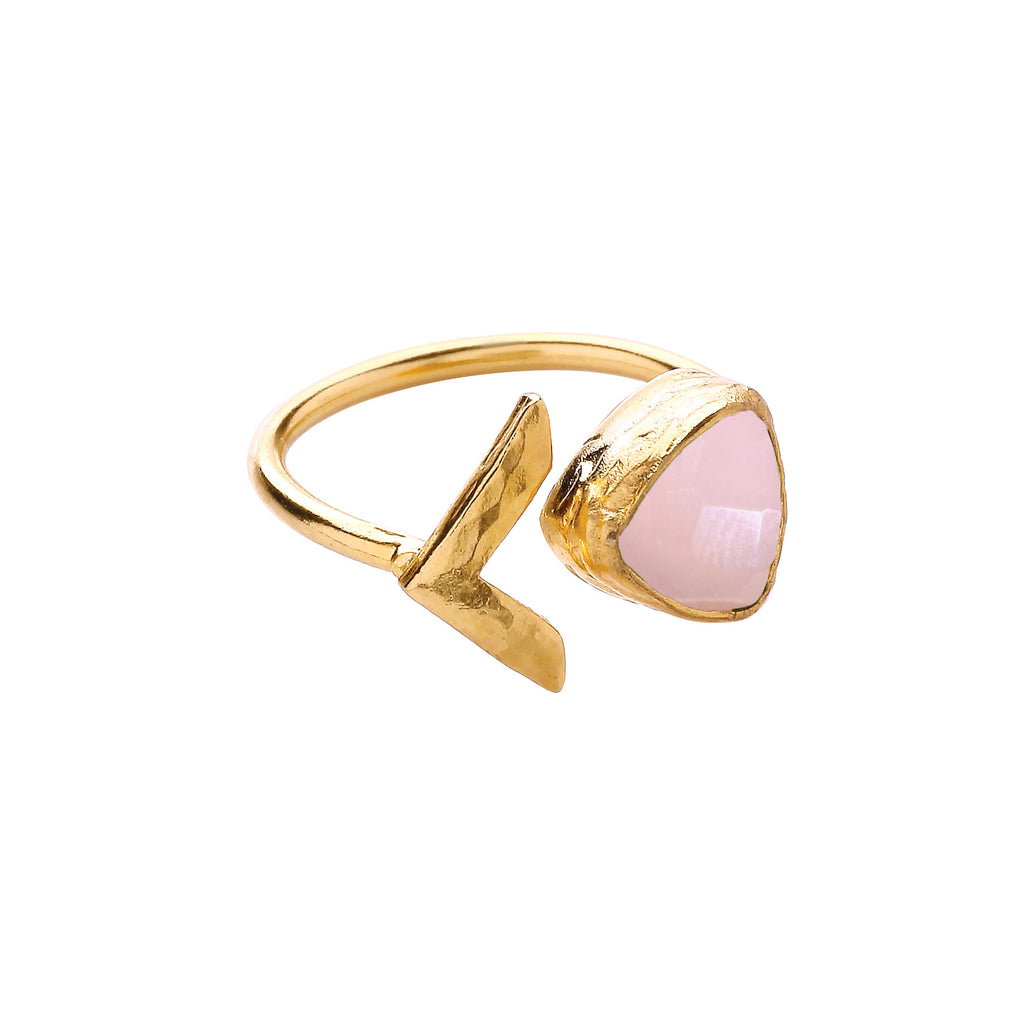 Ottoman Hands Triangle and Arrow Open Ring in Rose Quartz