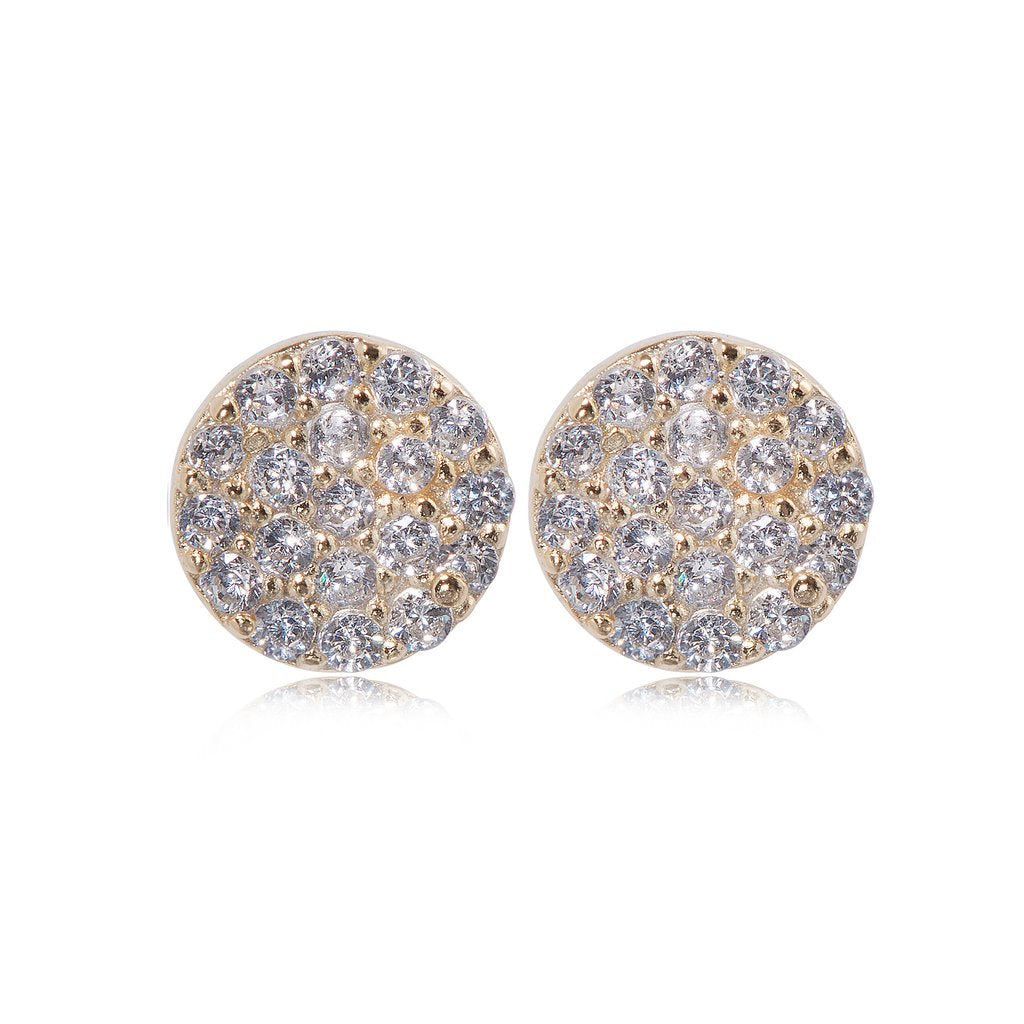 Penny Levi Round CZ Earrings Gold