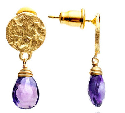 Azuni Athena small drop stone earrings in Amethyst - Jewella accessories - 1