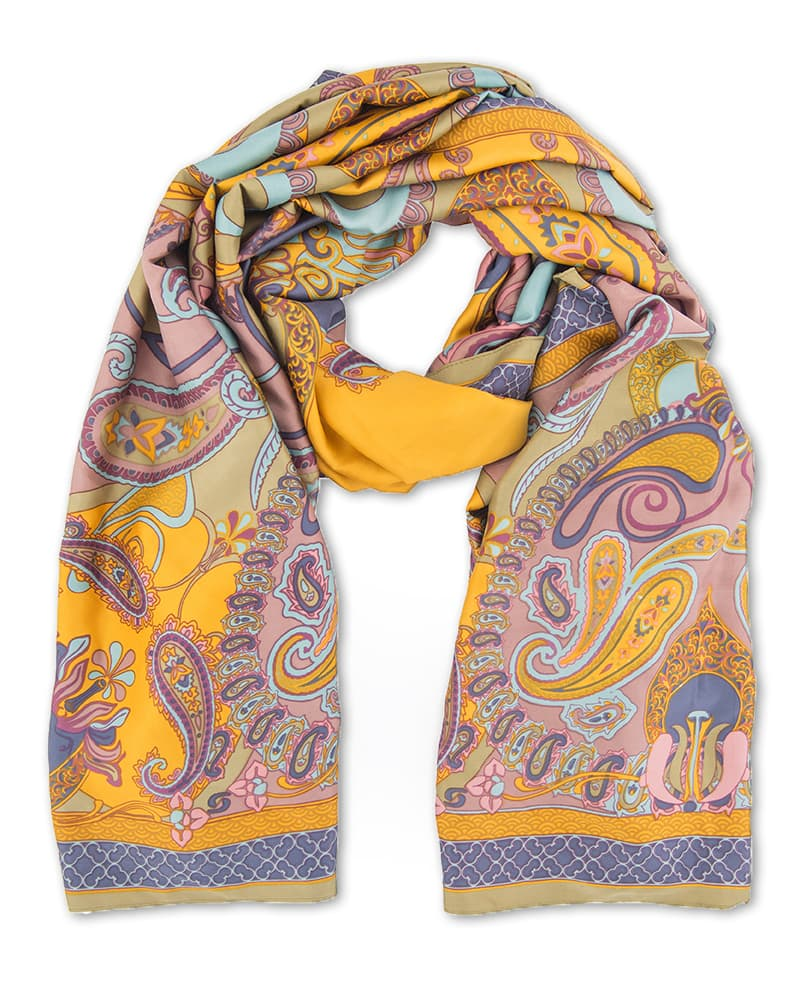 Powder Satin Paisley Scarf