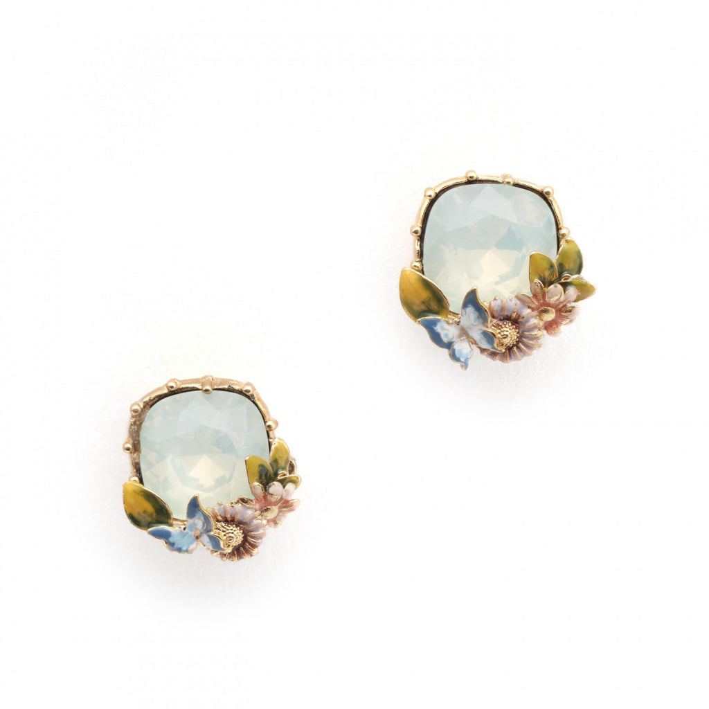 Bill Skinner Scenes of Nature Earrings in Chrysolite Opal