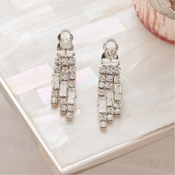 Lovett & Co Marilyn Crystal Drop Clip On Earrings