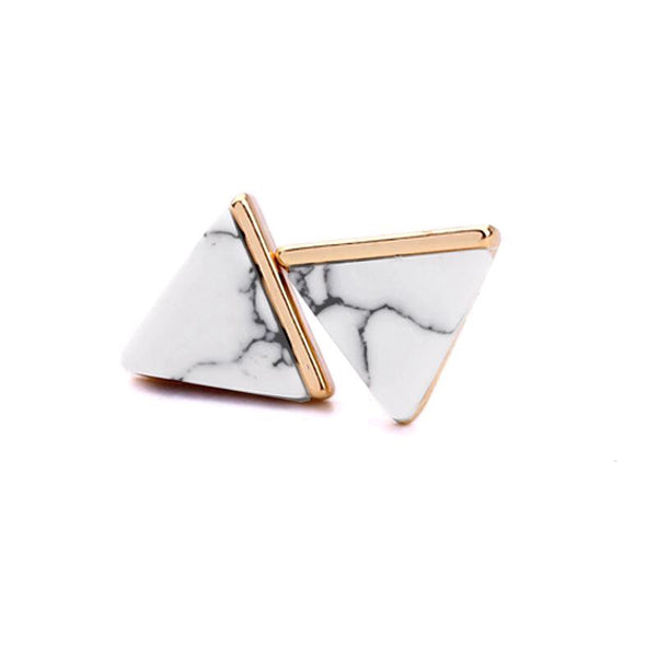 Last a True Angel White Marble Triangle Stud Earrings