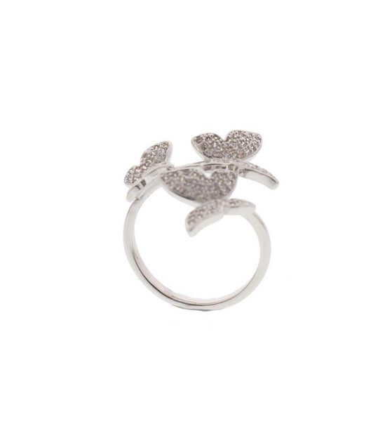 Nour London Silver Butterfly Adjustable Ring