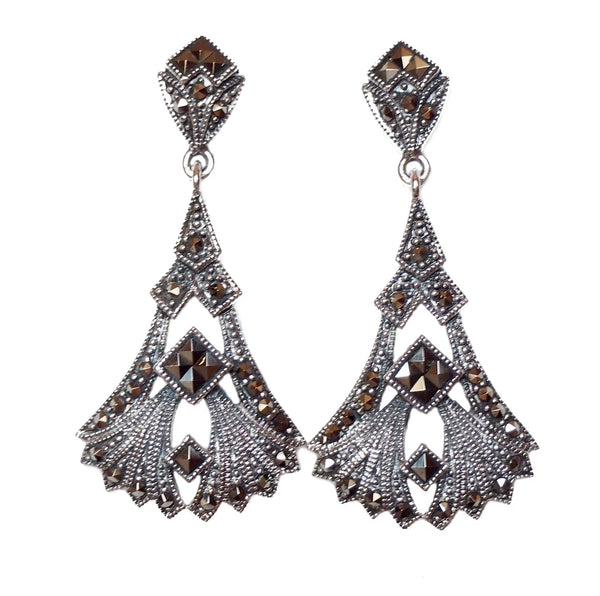 London Vintage Art Deco Statement Drop Earrinhs