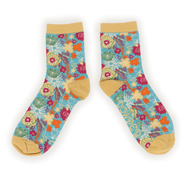 Powder Turquoise Floral Bamboo Ankle Socks