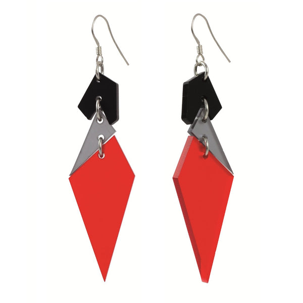 Toolally Abstract Earrings in Chilli Red and Grey