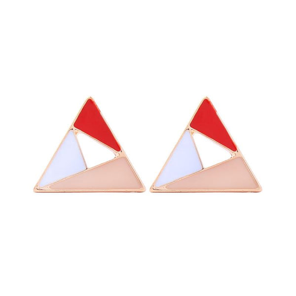Last True Angel Geometric Pink, Red & White Triangle Stud Earrings