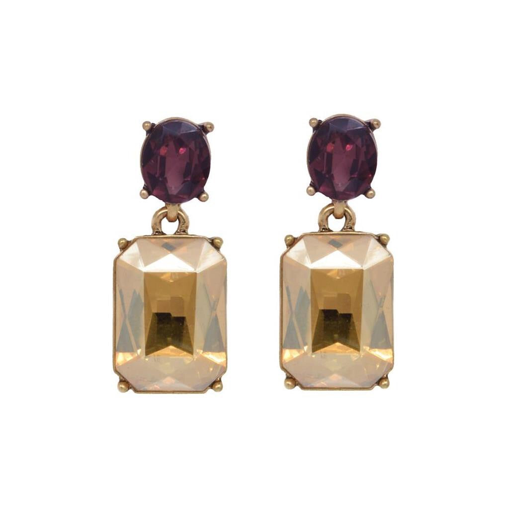 Last True Angel Amber & Burgundy Simple Gem Earrings