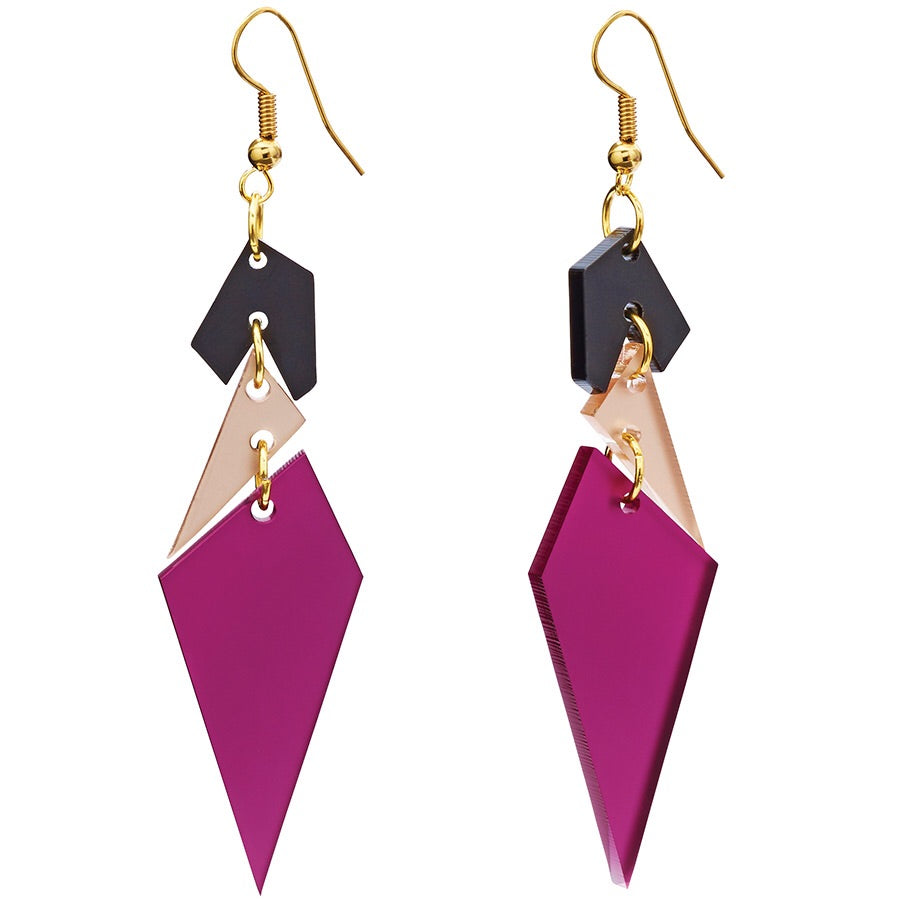 Toolally Abstract Earrings in Plum