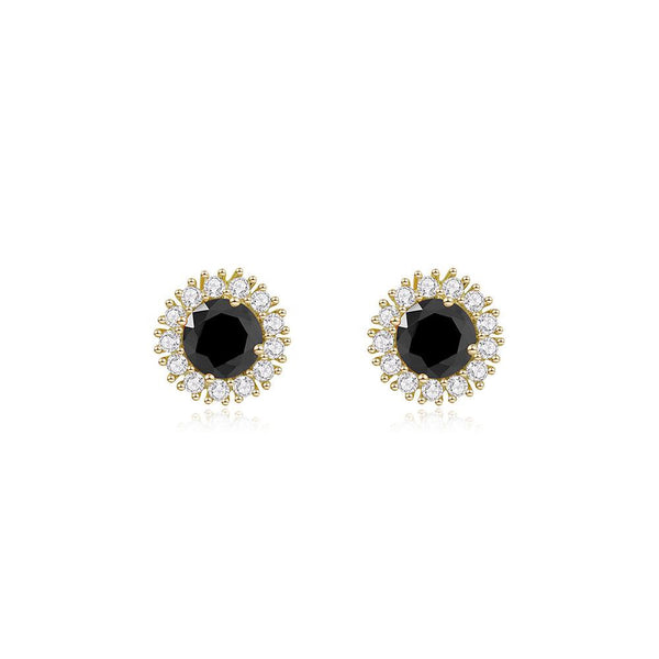 Last True Angel Black Cluster Stud Earrings