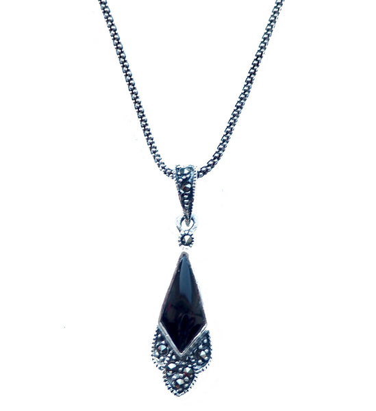 London Vintage Onyx & Marcasite Art Deco Pendant Necklace