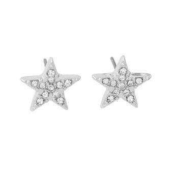 Last True Angel Silver Crystal 5 Point Star Stud Earrings