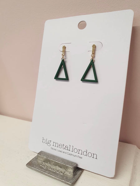 Big Metal London Green and Gold Triangle Earrings