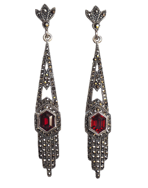 London Vintage Statement Garnet & Marcasite Drop Earrings