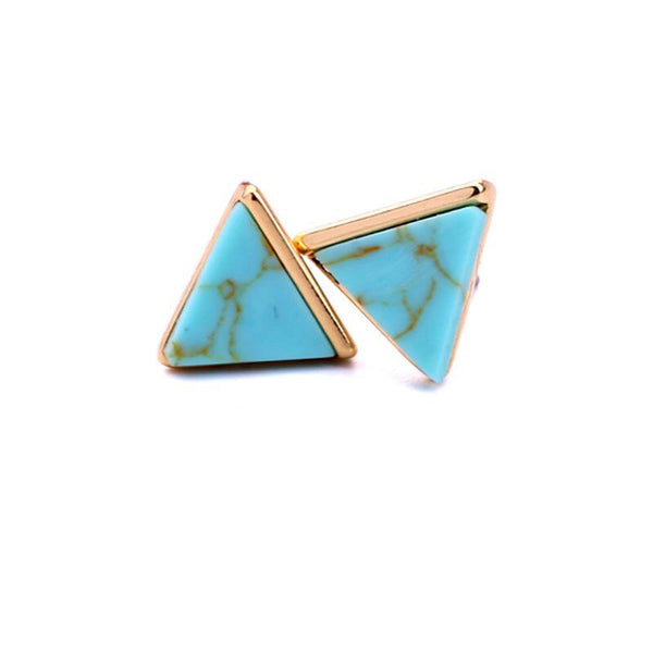 Last a True Angel Turquoise Marble Triangle Stud Earrings