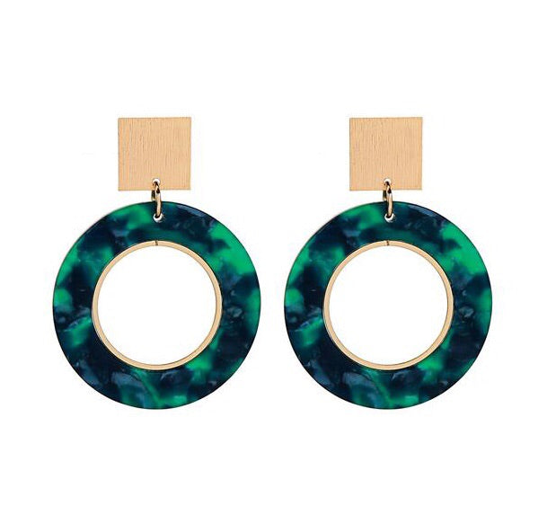 Last True Angel Gold Square & Green Hoop Earrings
