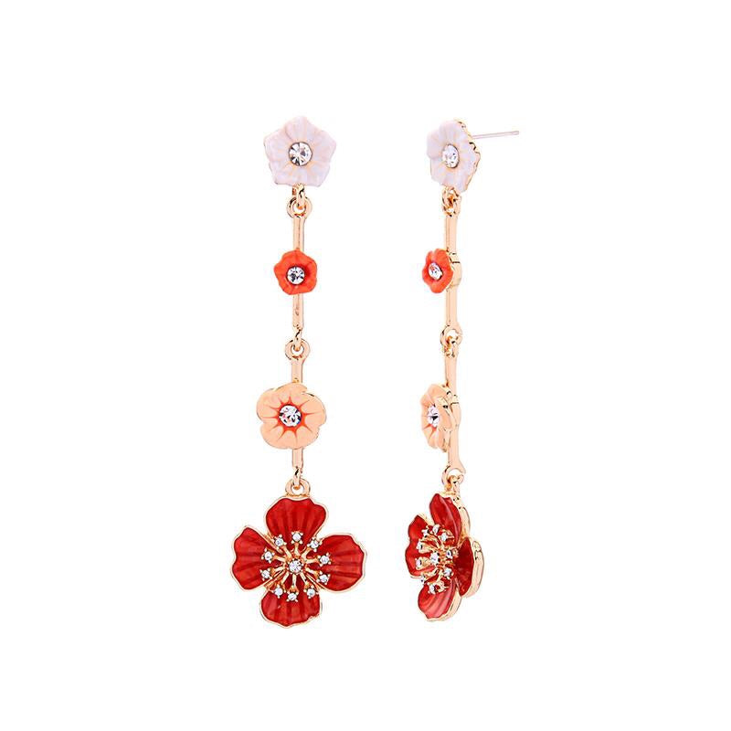 Last True Angel Orange, White & Apricot Statement Flower Drop Earrings