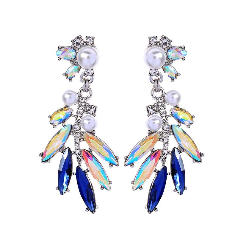 Last True Angel Crystal, Navy & Pearl Cluster Drop Earrings