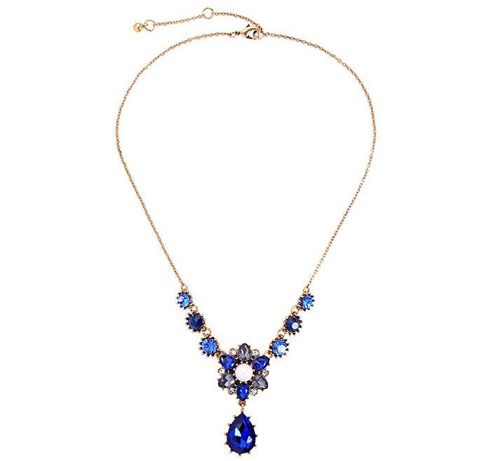 Last True Angel Blue Flower Pearl Teardrop Necklace