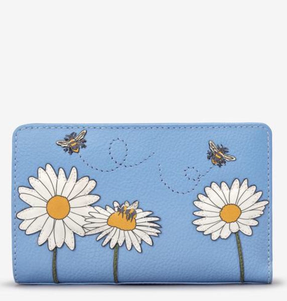 Yoshi Bee Happy Blue and Daisy Leather Purse