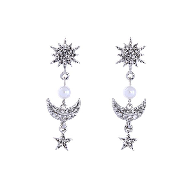 Last True Angel Crystals Star, Moon & Pearl Drop Earrings