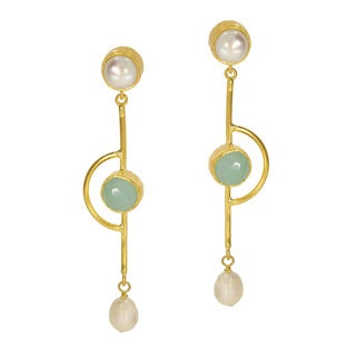 Ottoman Hands Aqua Chalcedony Bayer Drop Earrings