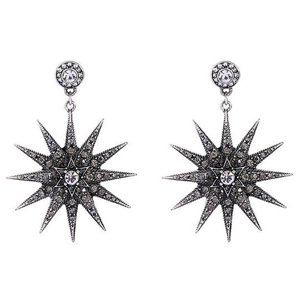 Last True Angel Pewter Crystal Star Drop Earrings
