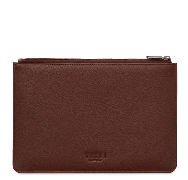Yoshi Bookworm Brown Leather Zip Top Pouch