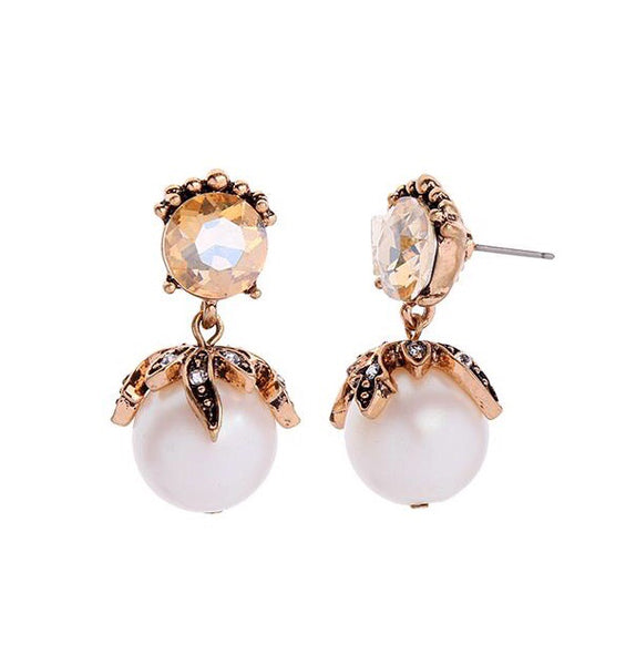 Last True Angel Amber & Pearl Drop Earrings