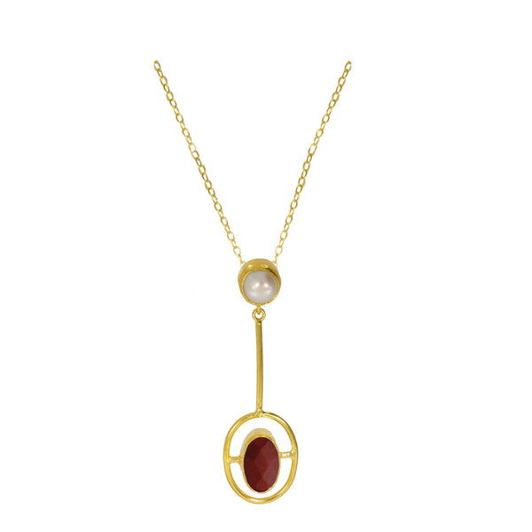 Ottoman Hands Moholy Red Agate and Pearl Pendant Necklace