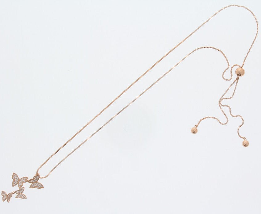 Nour London Rose Gold Butterfly Necklace