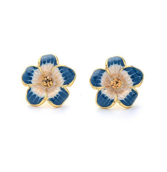 Last True Angel Blue Enamel Flower Stud Earrings
