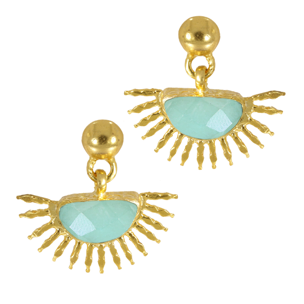 Ottoman Hands Sunrise Aqua Chalcedony Stud Earrings