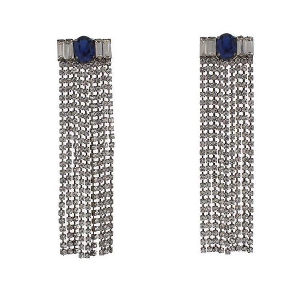 Nour London Crystal Fringe Statement Earrings