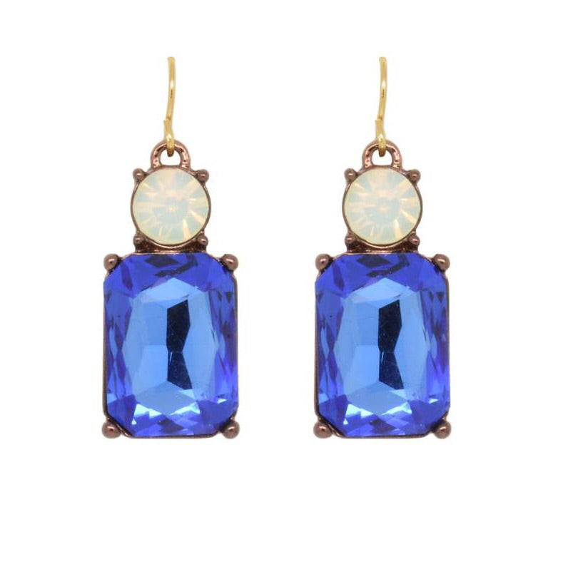Last true Angel Blue and White Gem Earrings