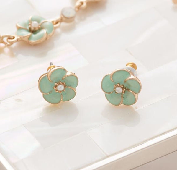 Lovett & Co Mint Green Rose Stud Earrings