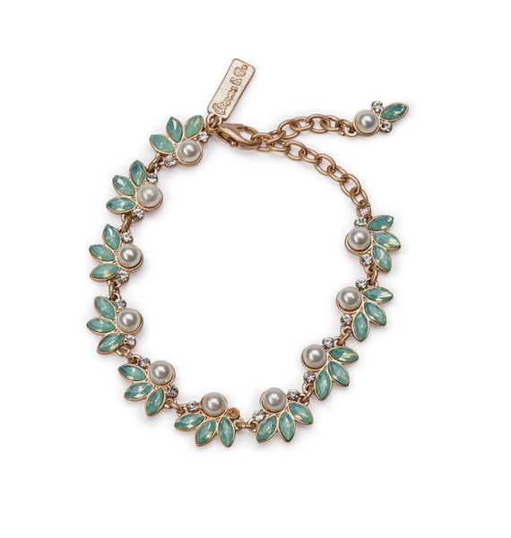 Lovett & Co Green Opal and Pearl Leaf Bracelet