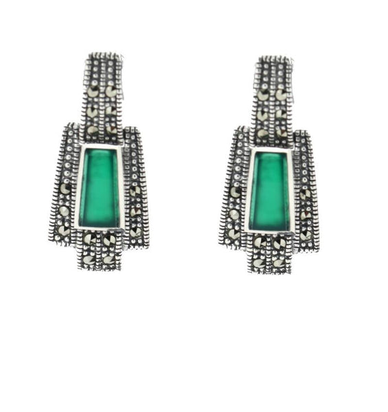Chicago Green Agate Earrings