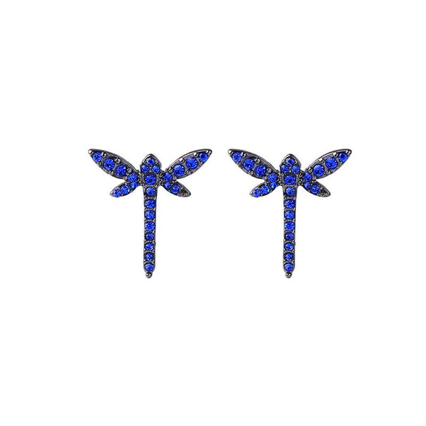Last True Angel Blue Crystal Dragonfly Stud Earrings