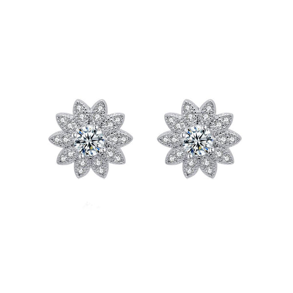 Last True Angel CZ Silver Flower Stud Earrings