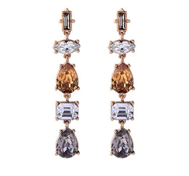 Last True Angel Amber and Grey Long Crystal Drop Earrings