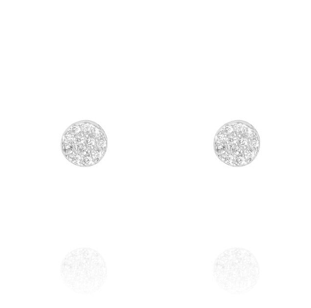 Penny Levi Small Silver Pave Disc Studs