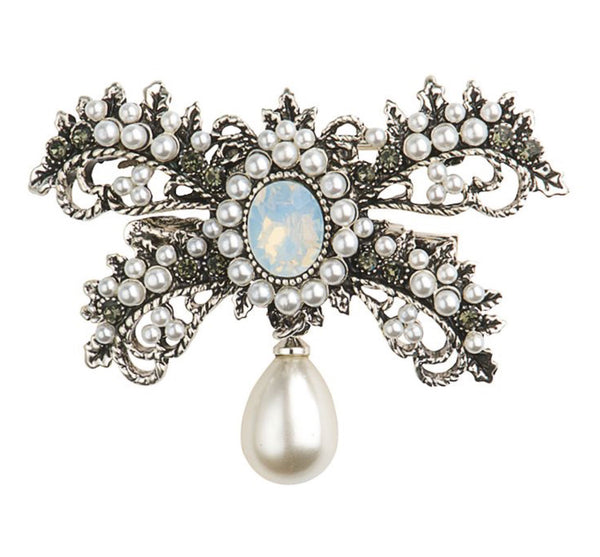Rosie Fox Crystal and Pearl Brooch & Hairclip