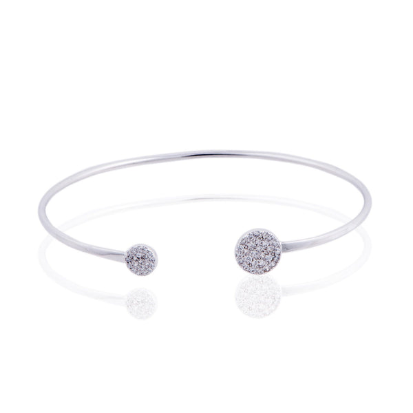 Penny Levi Silver Pave Disc Bangle Bracelet